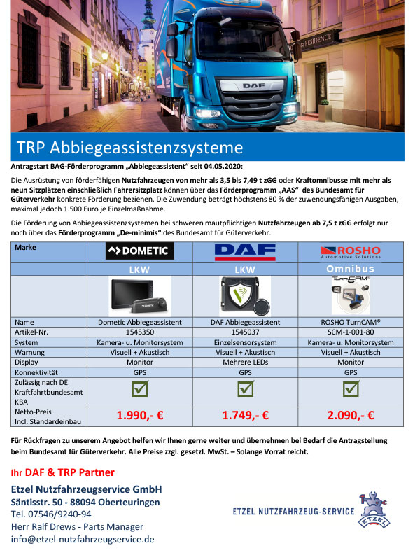 TRP Abbiegeassistenzsysteme